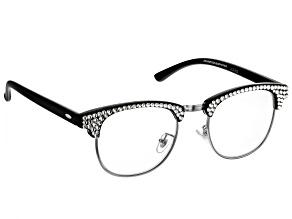 2.50 Strength  Black  Frame with White Crystal Reading Glasses