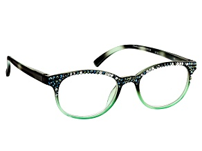 1.50 Strength Green  Frame with Multi Color Swarovski Elements™ Crystal Accent Reading