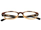 2.50 Strength Peach  Frame with Multi Color Swarovski Elements™  Crystal Reading Glasses
