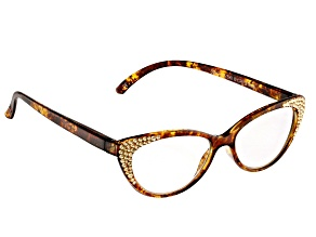 2.00 Strength Brown  Frame with Brown Swarovski Elements™ Crystal Accent Reading Glasses