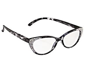 2.00 Strength Black  Frame with White Swarovski Elements™ Crystal Reading Glasses
