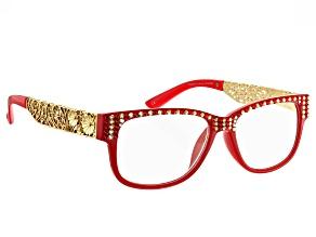 Swarovski Elements™ Crystal Red Frame, Reading Glasses 2.00 Strength