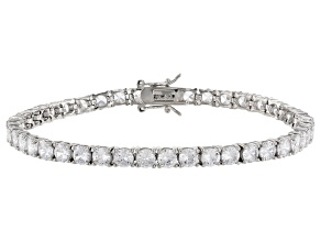 White Cubic Zirconia Silver Tone Brass Tennis Bracelet 10.10ctw