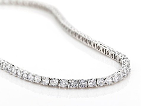 White Cubic Zirconia Silver Tone Brass Tennis Necklace 28.91ctw