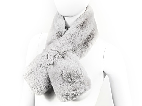 "Gray Faux Fur 100% Polyester 5"" x 36"" Scarf"