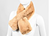 "Camel Faux Fur 100% Polyester 5"" x 36"" Scarf"