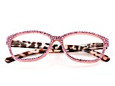 Pink Crystal, Pink and Brown Leopard Frame Reading Glasses 1.50 Strength