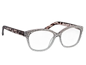 White Crystal, Gray Leopard Frame Reading Glasses 2.00 Strength