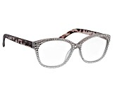 White Crystal Gray Leopard Frame Reading Glasses 2.50 Strength