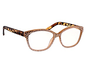 Peach Crystal Brown Leopard Frame Reading Glasses 1.50 Strength