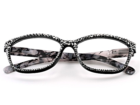 Black Crystal, Black and White Marble Frame Reading Glasses 1.50 Strength