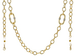 White Crystal Gold Tone Face Mask Chain Holder
