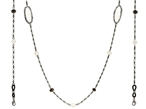 Gunmetal Tone Crystal and Mother-of-Pearl Face Mask Chain Holder