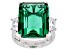 Silver Tone Green And White Cubic Zirconia Emerald Cut Ring 32.80CTW