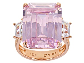 Pink And White Cubic Zirconia Rose Tone Emerald Cut Ring 32.80CTW