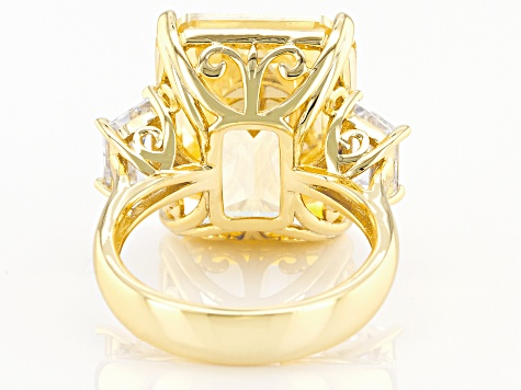 Yellow And White Cubic Zirconia Gold Tone Emerald Cut Ring 32.80ctw