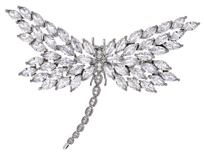 Clear Cubic Zirconia Silver Tone Dragonfly Pin 43.00ctw
