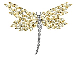 Clear and Yellow Cubic Zirconia Silver Tone Dragonfly Pin 43.00ctw