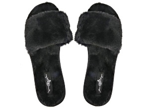 Black Faux Fur Slipper