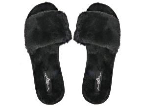 Black Faux Fur Slipper