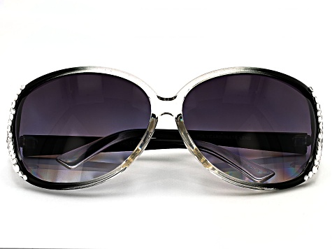 Black Frame with White Crystal Sunglasses