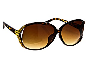 Brown Tortoise Color Frame with Champagne Crystal Sunglasses