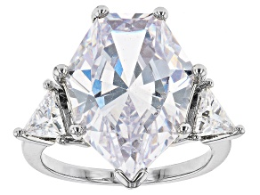 Cubic Zirconia, Silver Tone 3- Stone Statement Ring 16.50ctw