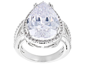 White Pear Shaped Cubic Zirconia Silver Tone Statement Ring 17.00ctw