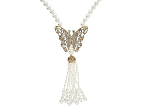 Gold Tone Pearl Simulant and White Crystal Butterfly Tassel Necklace