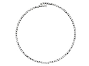 White Crystal Silver Tone Collar Necklace