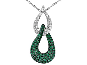 White and Green Cubic Zirconia Rhodium Over Brass Necklace 0.25ctw