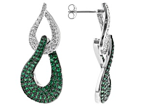 White and Green Cubic Zirconia Rhodium Over Brass  Earrings 0.18ctw