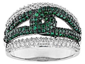 White and Green Cubic Zirconia Rhodium Over Brass Ring 0.15ctw