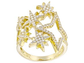 White Cubic Zirconia 14k Yellow Gold Over Sterling Silver Star Ring 0.45ctw