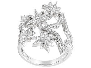 White Cubic Zirconia Rhodium Over Sterling Silver Star Ring 0.45ctw