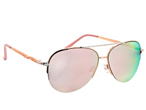 Rose Gold Wire Rim Frame, Pink Crystal, Pink Lens Aviator Sunglasses