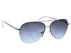 Blue and White Crystals, Blue Lens Aviator Silver Wire Rim Frame Sunglasses