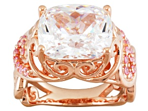 Pink And White Cubic Zirconia 18k Rose Gold Over Sterling Silver Ring 9.29ctw