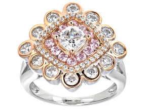 Pink And White Cubic Zirconia Silver And 18k Rose Gold Over Silver Ring 3.22ctw