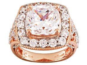 Cubic Zirconia 18k Rose Gold Over Silver Ring 9.63ctw