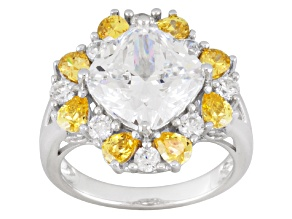 Yellow And White Cubic Zirconia Sterling Silver Ring 10.40ctw