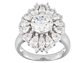 Cubic Zirconia Sterling Silver Ring 6.93ctw
