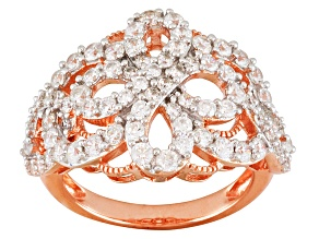 Cubic Zirconia 18k Rose Gold Over Silver Ring 3.10ctw