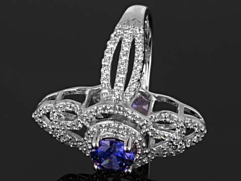 Blue And White Cubic Zirconia Sterling Silver Ring 3.80ctw