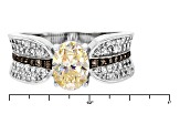 Fabulite Strontium Titanate And White Zircon With Champagne Diamond Silver Ring 1.96ctw