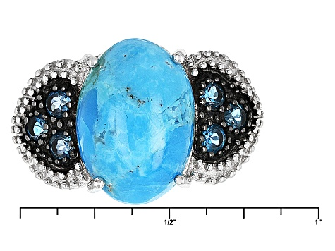 Blue Turquoise Sterling Silver Ring .35ctw