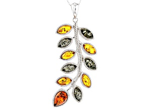 Orange Polish Amber Sterling Silver Leaf Pendant With Chain
