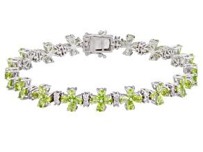 Green Peridot Sterling Silver Bracelet 12.89ctw