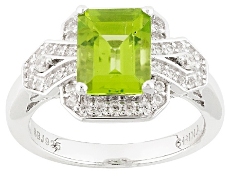 Green Peridot Sterling Silver Ring 2.65ctw