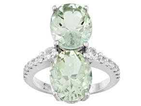 Green Prasiolite Sterling Silver Ring 6.82ctw